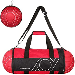 PQZATX Unisex Football Shape Gym Sport Duffel Bag Travel Vacation Home Outdoor for Men and Women(Black+red)