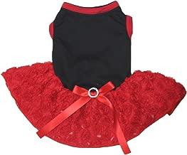 Petitebella Plain Black Shirt Red Floral Tutu Puppy Dog Dress