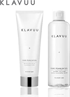 Cleansing Micellar Water and Facial Foam Set, Contains Pearls and Marine Collagen to Remove Makeup and Hydrate Skin - 2 Count