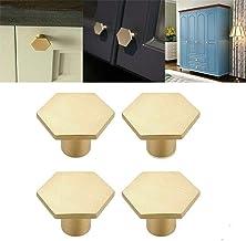 Mioloe 4-delige set van massief messing voor keuken, zeshoekige ladeknoppen van puur koper voor kastdeuren, kastdeuren en ...