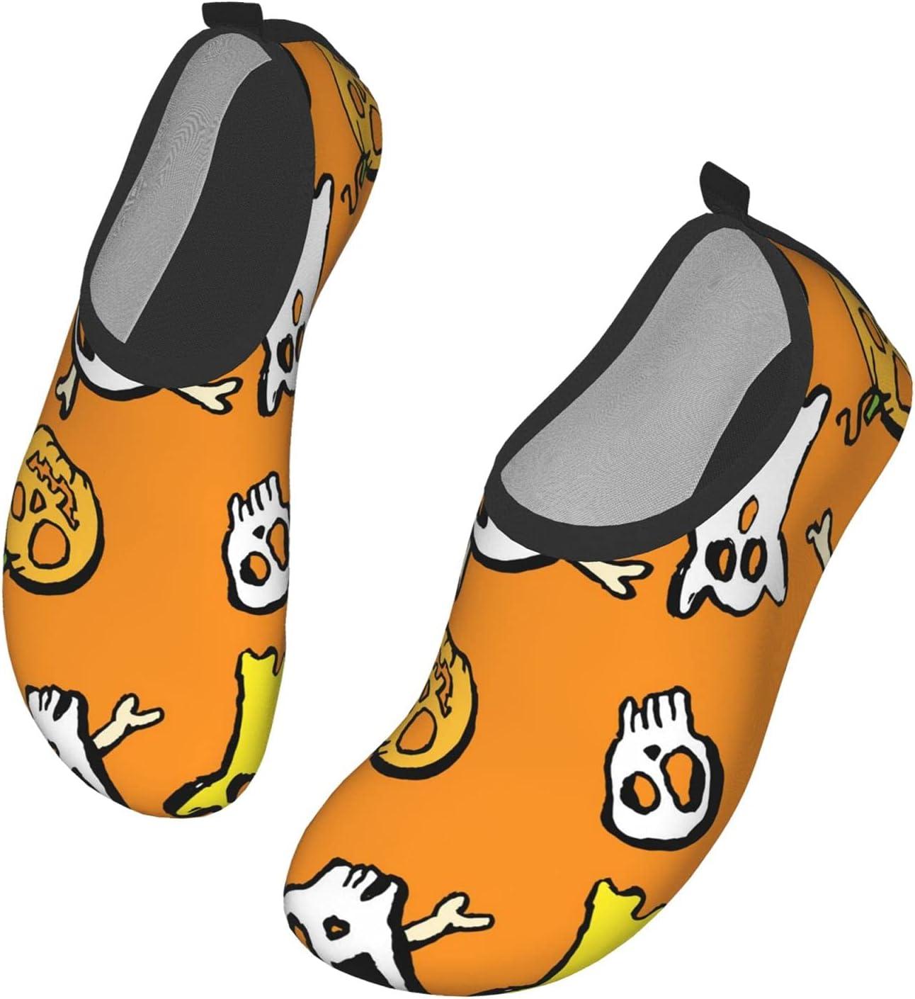 NA Cute Halloween Pattern Men's Women's Water Shoes Barefoot Quick Dry Slip-On Aqua Socks for Yoga Beach Sports Swim Surf