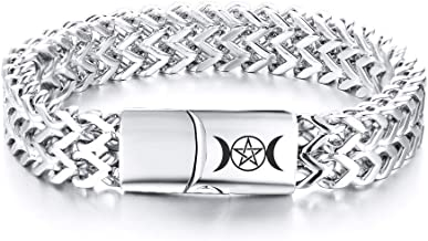 VNOX Wiccan Triple Moon Stainless Steel Biker Franco Link Curb Chain Magnetic Clasp Bracelet for Unisex,2 Color