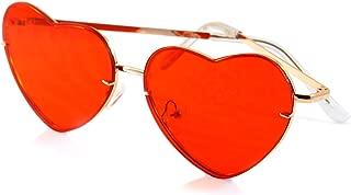 FBL Women's Rimless Metal Tinted/ Gradient Flat Lens Heart Sunglasses A024