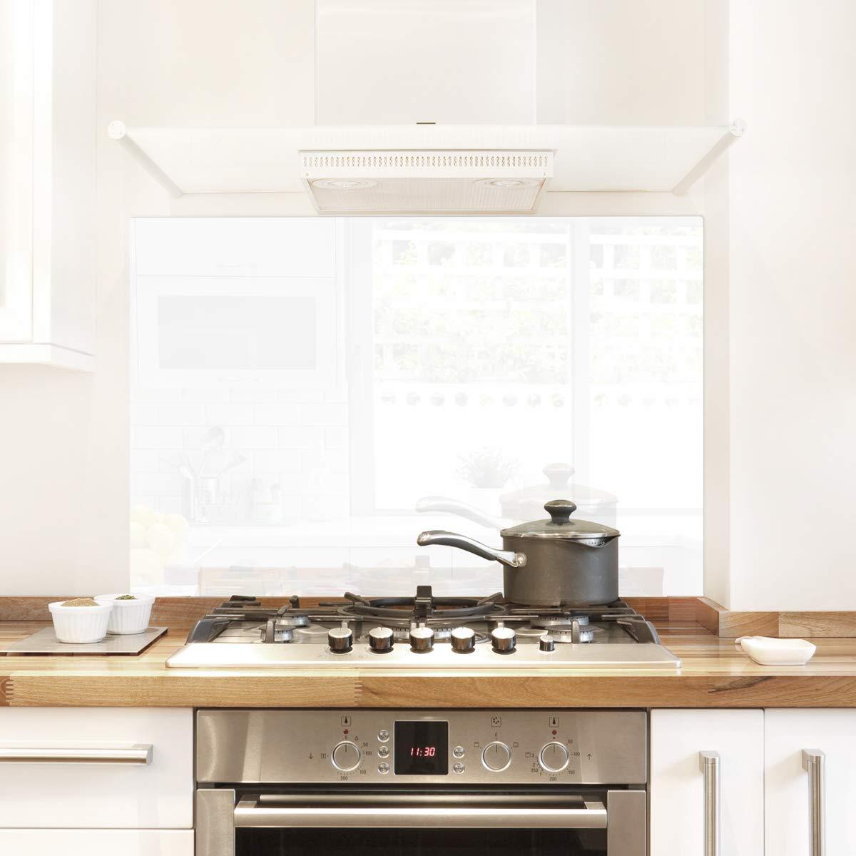 Pantalla antisalpicaduras de cristal/Panel de vidrio templado para cocina, 100 x 60 cm, Blanco, UltraClear ® Glass: Amazon.es: Hogar