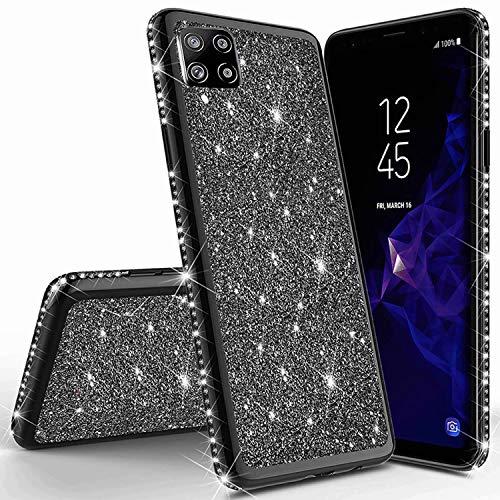 Miagon für Samsung Galaxy A12 Glitzer Hülle,Bling Überzug Glänzend Strass Diamant Weich TPU Silikon Handy Hülle Etui Tasche Schutzhülle Case Cover
