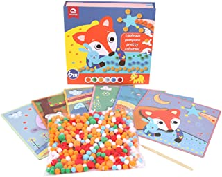 mobee art Colorful Pom Poms Sticker Pad Toy for Babies, 6 Different Pads with Pom Poms for DIY Playing, Creative & Interesting Sticker Pads for Babies, Girls & Boys Aged 3-8 Year
