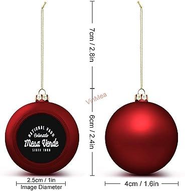 VinMea Christmas Ball Ornaments Mesa Verde National Park Colorado Emblem Hanging Ball Ornament Keepsake for Christmas Trees,H