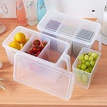 MineSign Handle Kitchen Organizer Set Food Storage Containers Clear Organization for Refrigerator Fridge Shelf Cabinet Des...
