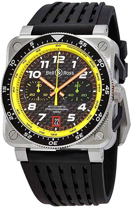 Orologio bell and ross carbon fiber chronograph dial uomo limited edition watch br0394-rs19/srb