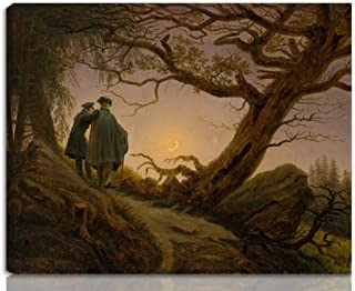 Berkin Arts Caspar David Friedrich Stretched Giclee Print On Canvas-Famous Paintings Fine Art Poster Reproduction Wall Decor-Ready to Hang(Two Men Contemplating The Moon)#NK
