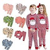 Little Kid Baby Girls Boy Christmas Pajamas Cute Santa Animals Print Striped Striped Plaid Tops+Pants Outfits.12M-7T