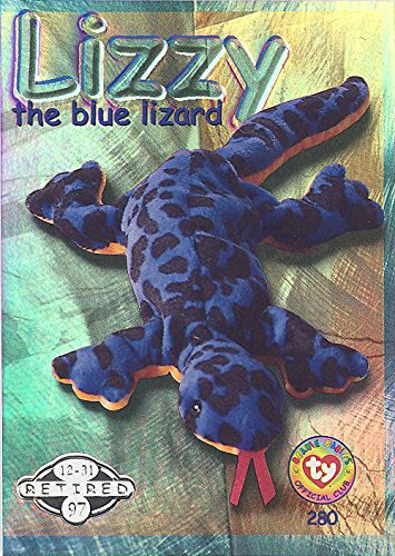 BBOC Cards TY Beanie Babies Series 2 Retired (Silver) - Lizzy The Blue Lizard
