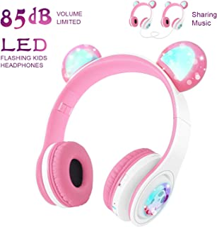 Girls Wireless Headphones WOICE, Bluetooth Headphones 85dB Volume Limiting, LED Lights & Music Sharing Function, Kids Wireless/Wired Headphones Over Ear with Mic Pink