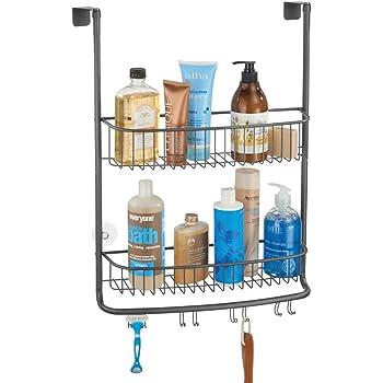 mDesign Estantería para Colgar – práctica estantería de baño – Ideal estantería sin Tornillos para organizar Sus Botes de champú, geles, Cuchillas,…: Amazon.es: Hogar