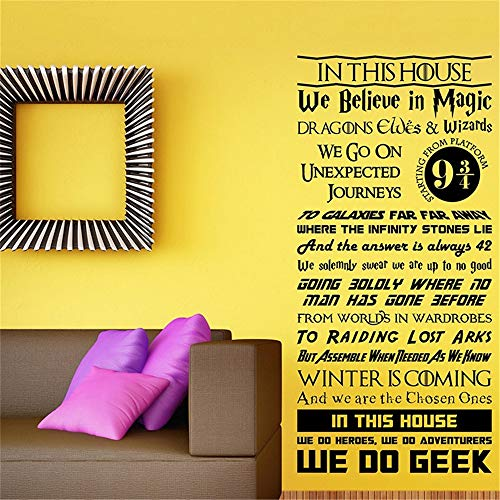 Muursticker in dit huis Regelmatige Sticker Harry Potter Lord of The Rings Home Decor Cartoon Living 15.6x31.2 inches