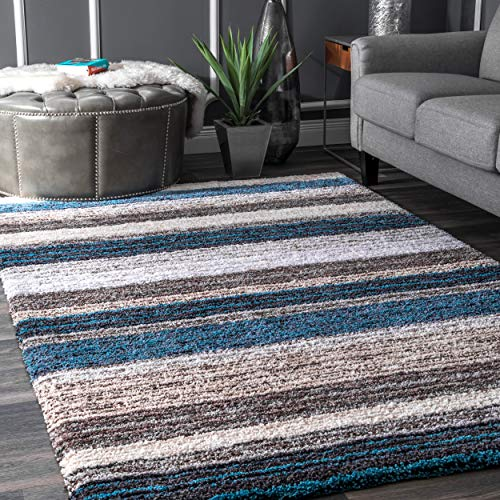 nuLOOM Classie Hand Tufted Shag Rug, 5' x 8', Blue Multi, Rectangle