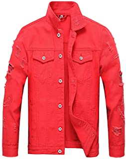 c651b00aca3 LZLER Jean Jacket for Men, Classic Ripped Motorcycle Mens Denim Jacket with  Hole
