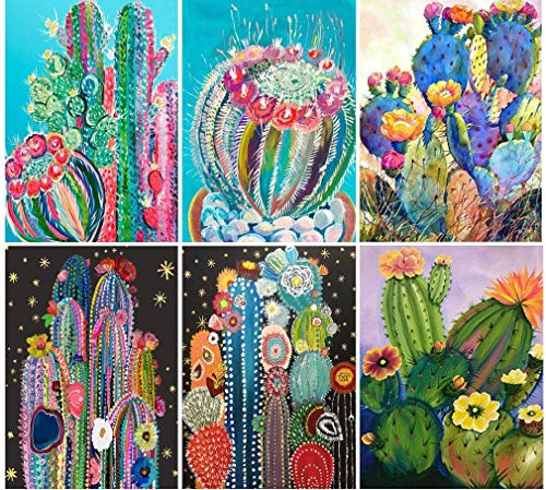 6 Sets Diamond Painting by Numbers Kits Cactus for Adult Kids 5D Full Drill Paint by Numbers Birthday Christmas Housewarming Gifts (E Pack of 6 Sets)