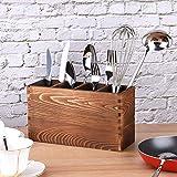 Portaposate Verticale, Portaposate in Legno con 4 Scomparti Regolabili, Portaposate da Cucina per Coltello, Forchetta e Utensili