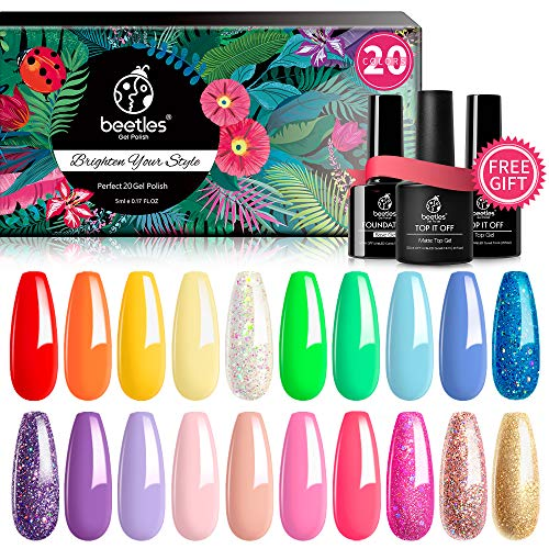 Beetles Pack of 23 Rainbow Summer Gel Nail Polish Kit, Soak Off LED Lamp Gel Nail Polish Set Glitter Nude Gel Polish Starter Kit with Glossy & Matte Top Gel Base Coat Kaleidoscope Collection Nail Art