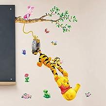 Beautymostar Sturdy Children Room Decoration Winnie The Pooh Flowers Wall Decals Sticker PVC Removable Kids Nursery in fin...