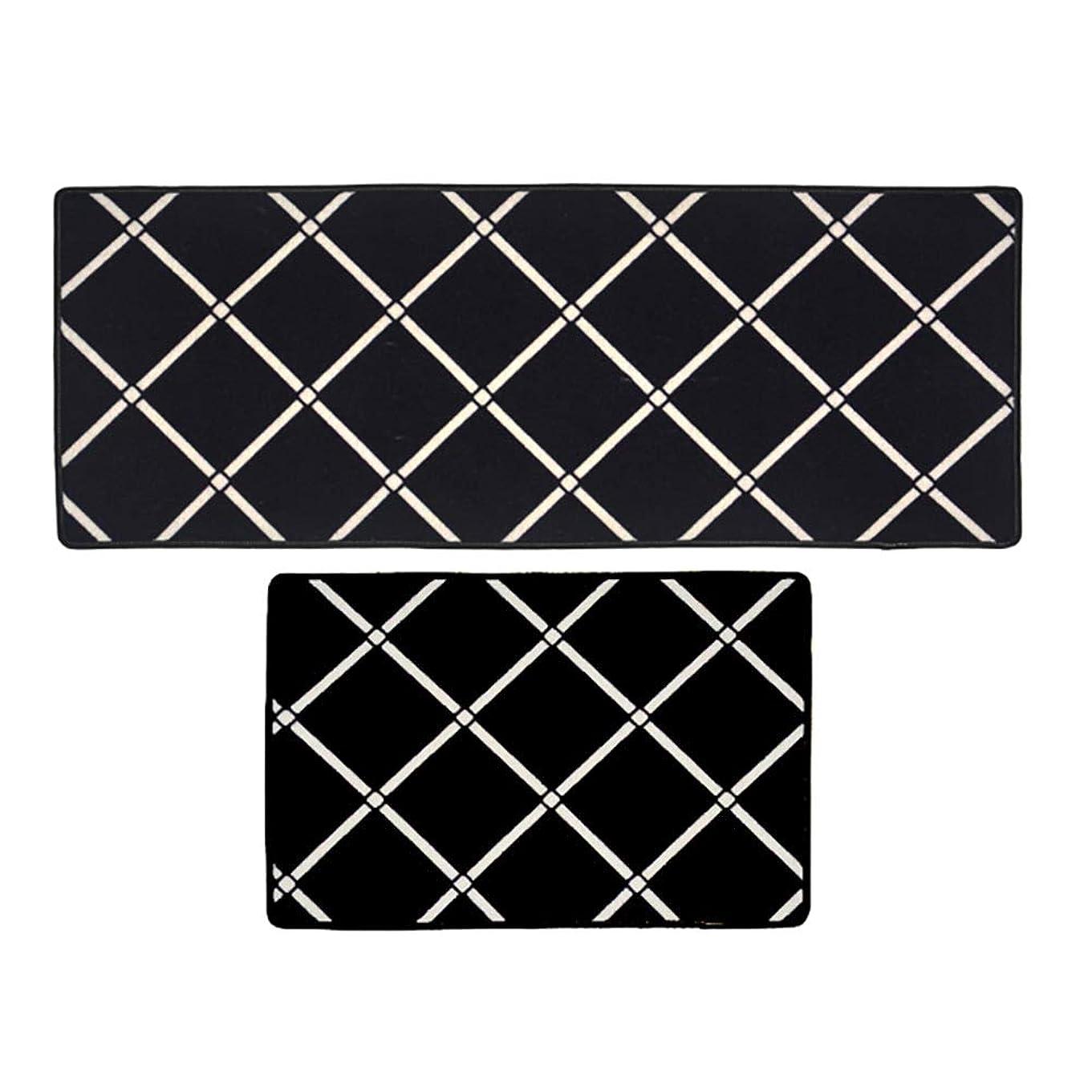 低いフェリーセラーカーペット, キッチン用2枚ブラックラグ、シャギーカーペットランナーフロアマット、長方形カーペットリビングルームベッドルーム滑り止めボトム (サイズ さいず : 45x68+45x120cm)