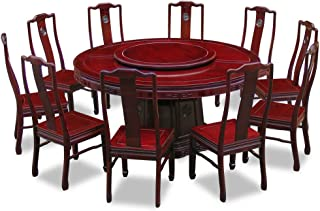 China Furniture Online 66in Rosewood Longevity Design Round Dining Table with 10 Chairs