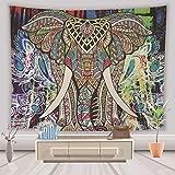 Lihan Tapicería Diseñador Indian Elefante Hippie Mandala de Pared Tapiz Estampado Floral Decoración de la Naturaleza del Hogar para Grande Picnic Mantel, Elefante 4 150 * 200cm/59 * 79inch