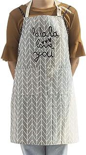 KOOBK Küchenschürze,Mode Verstellbare Baumwolltuch Kleid Kochschürze Schürze Küchenschürze Frau Backschürze Leicht Zu Reinigen Und Spritzwassergeschützte Schürze, Dunkelgrau