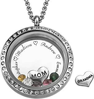 My Name Necklace Floating Family Charms Custom Personalized Engraved Locket - for Mom or Grandma with CZ Birthstones - Great