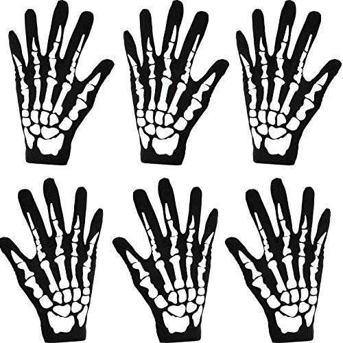 3 Pares de Guantes de Esqueleto Blanco Negro de Halloween Accesorios de Disfraces Huesos Fantasma para Halloween Guantes de Disfraces (Pequeño)