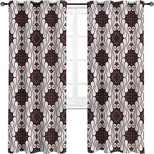 UNOSEKS LANZON Black Out Cortinas batik, bohemias con motivos tradicionales para puerta de comedor (2 paneles, 137 x 214 cm)