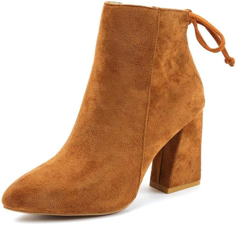 Zgshnfgk Women's Stiletto Heel Round Toe Chelsea Booties