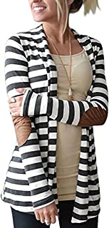 Women's Elbow Patch Shawl Collar Thick Striped Open Front Cardigan Sweaters Coat Outwear