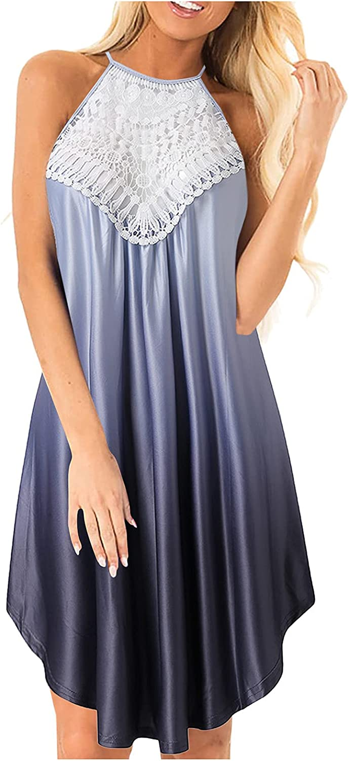 Womens Summer Dresses Washington Beauty products Mall Sleeveless Hollow Lace Out Tie-dy Gradient