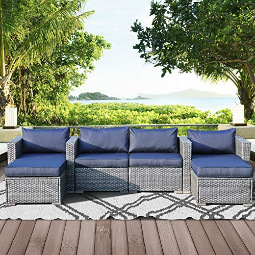 Leaptime Patio Furniture Sofa Garden Couch Set 6-Piece PE Rattan Sofa Outdoor Sectional Sofa Deck Conversation Furniture Set Gray Wicker Navy Blue Cushion