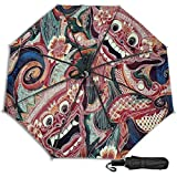 Indonesia Bali Batik - Paraguas manual de triple pliegue para impresión de tela, motivos de sol, lluvia
