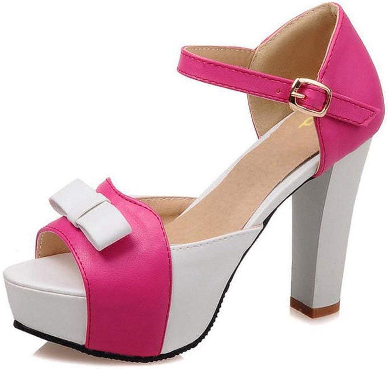 Houfeoans Size 31-43 Summer Peep Toe Ankle Strap orange Sweet Thick High Heel Sandals Platform Women shoes,Red,5