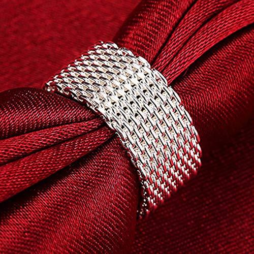 weichuang Joyería para mujer de plata 925 conjuntos de joyería de moda círculos trenzados anillos de malla para mujer joyería de boda (anillo 9)