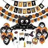 Decoracion Halloween Casa por Ninos, Banderinas, Guirnaldas, Photocall de Halloween Fotomaton, Globos y Murciélago Gigante