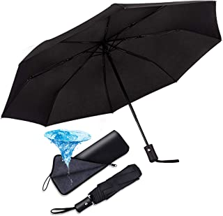 Compact Automatic Folding Umbrella Windproof &Waterproof Lightweight Travel Umbrella with Black Water-Absorbing Storage Bag for Golfers, Business Professional or Daily Use