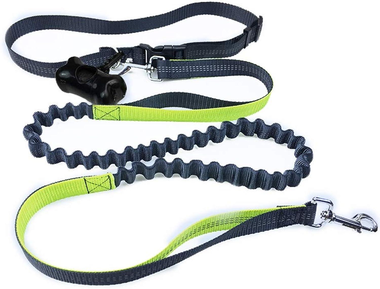 Hands Free Dog Leash with Ergonomic Waist Belt Bag 190cm Waist Dog Leash Adjustable Strap for Running Jogging Waking Ideal for Medium to Large Dogs 2 colors (color   Green)