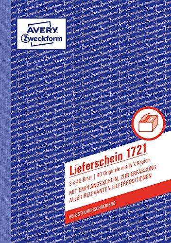 AVERY Zweckform 1721 Lieferschein mit Empfangsschein (A5, 3x40 Blatt, selbstdurchschreibend mit farbigem Durchschlag, zur Erfassung aller relevanten Lieferpositionen) weiß/gelb/rosa
