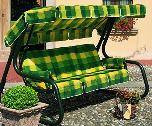 Ideapiu Hollywoodschaukel umbaubar, Hollywoodschaukel 4-Sitzer, Schaukel Master Scab, Bett Swings weiß, Bezug und Dach Baumwolle Farbtönen Quadrate \'gelb grün