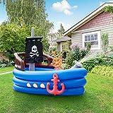Teamson Kids Inflable para Niños - Barco Pirata Acuático, Azul Negro