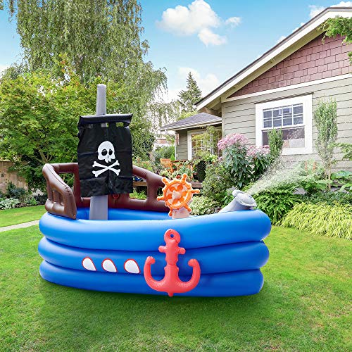 Teamson Kids Garden Childrens Pirate Boat Inflatable Water Play Centre TK-48272B-UK/EU
