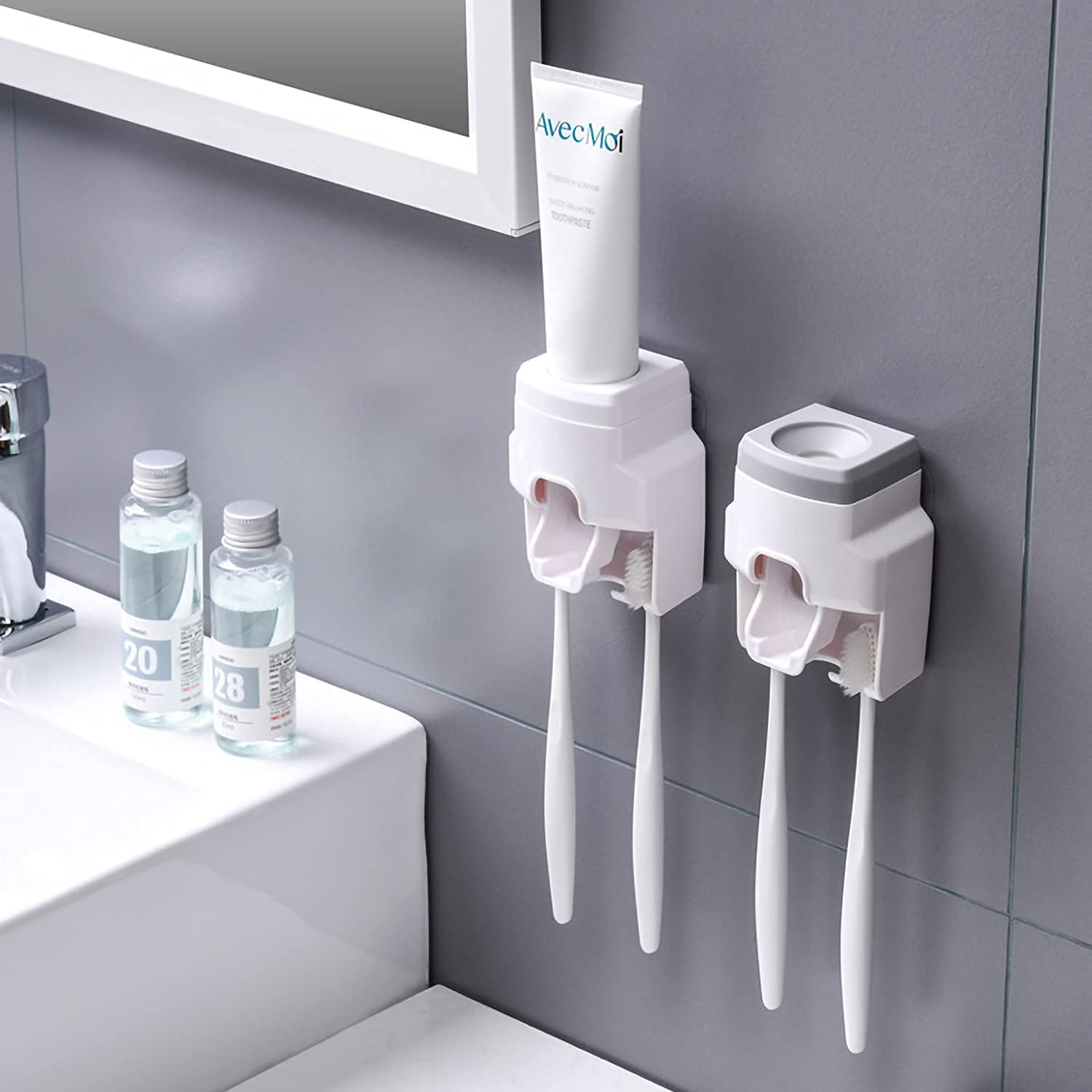 2 Pcs Toothbrush Holder Wall Toothpaste Automatic Squee OFFicial mail order Mounted- Washington Mall