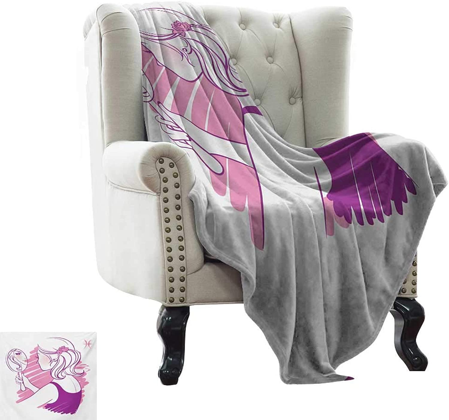 LsWOW Summer Blanket Zodiac Gemini,Young Teenage Girl on Pink Looking at Herself in The Mirror,Purple Pale Pink and White Soft, Fuzzy, Cozy, Lightweight Blankets 50 x60