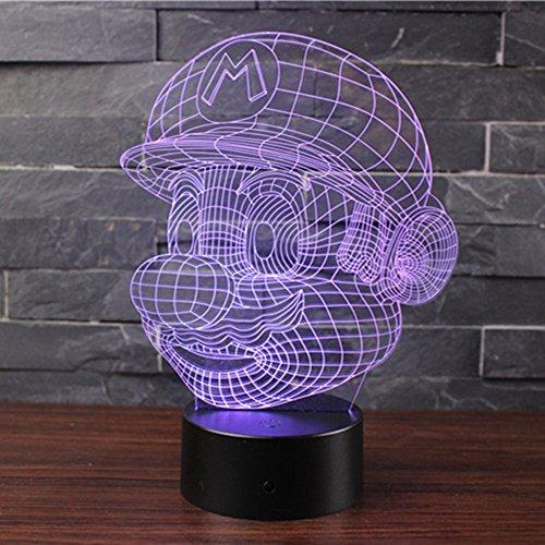 3D Lámpara de Escritorio Mesa 7 cambiar el color botón táctil de escritorio del USB LED lámpara de tabla ligera Decoración para el Hogar Decoración para Niños Mejor Regalo (Mario)