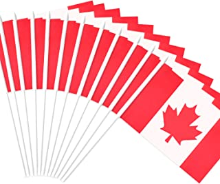 Anley Canada Stick Flag, Canadian 5x8 inch Handheld Mini Flag with 12